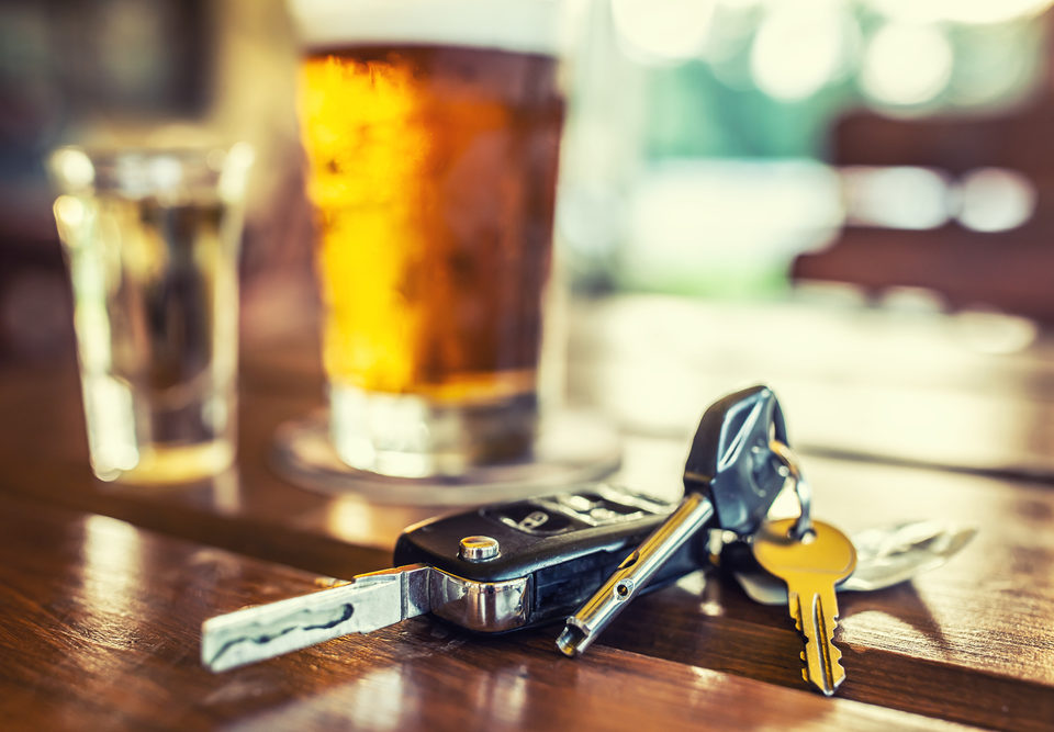 Drunk Driving Car Keys with Beer and Alcohol